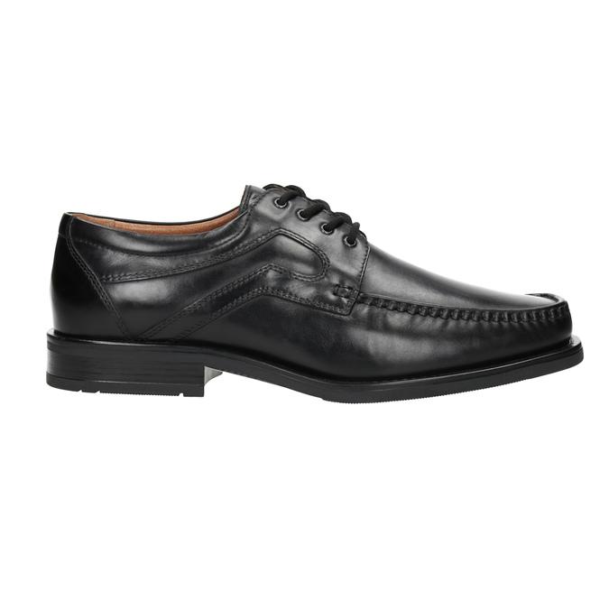 Pánské kožené polobotky s prošitím na špici bata, černá, 824-6625 - 26