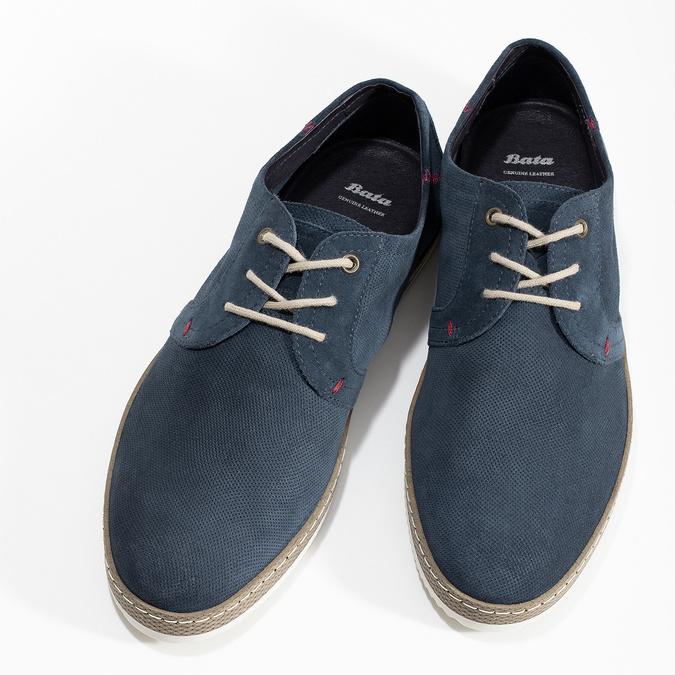 Tmavě modré kožené tenisky s perforací bata, modrá, 823-9617 - 16