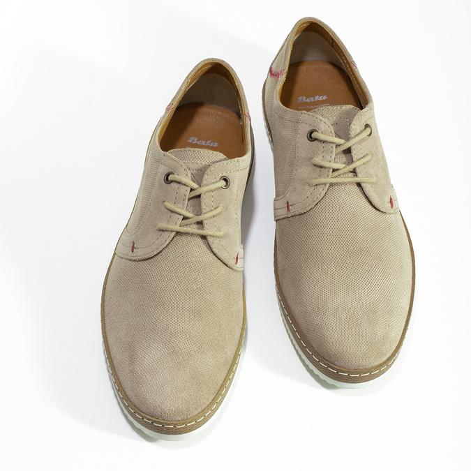 Pánské kožené tenisky s perforací béžové bata, béžová, 823-8617 - 16