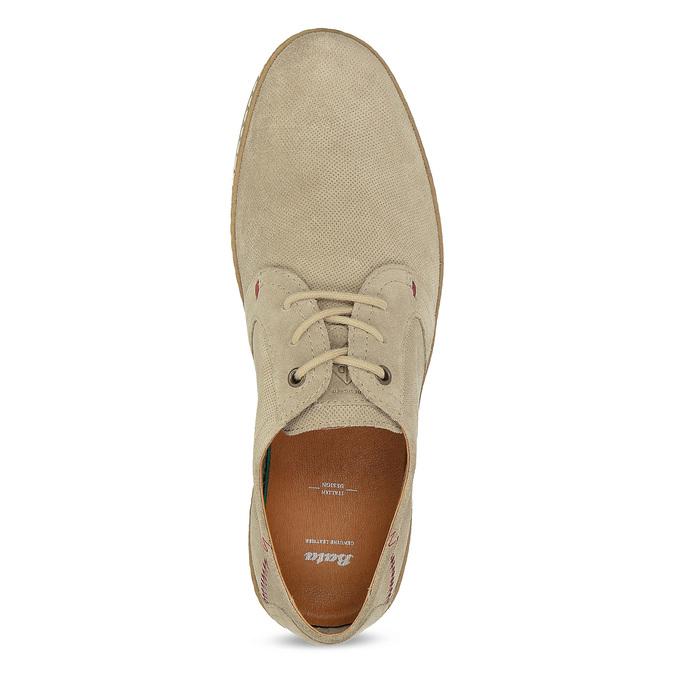 Pánské kožené tenisky s perforací béžové bata, béžová, 823-8617 - 17
