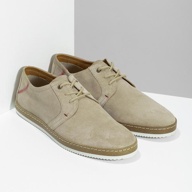 Pánské kožené tenisky s perforací béžové bata, béžová, 823-8617 - 26