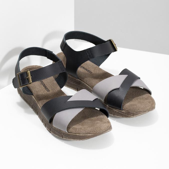 Šedo-černé kožené dámské sandály weinbrenner, černá, 566-6641 - 26
