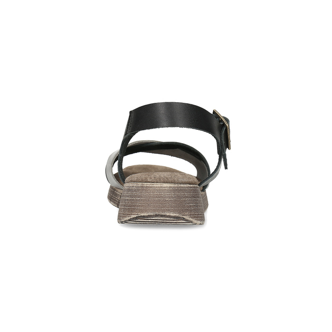 Šedo-černé kožené dámské sandály weinbrenner, černá, 566-6641 - 15