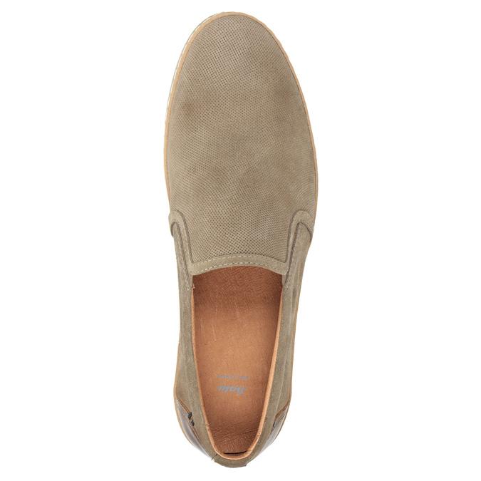 Pánské Slip-on z broušené kůže bata, béžová, 833-8602 - 15