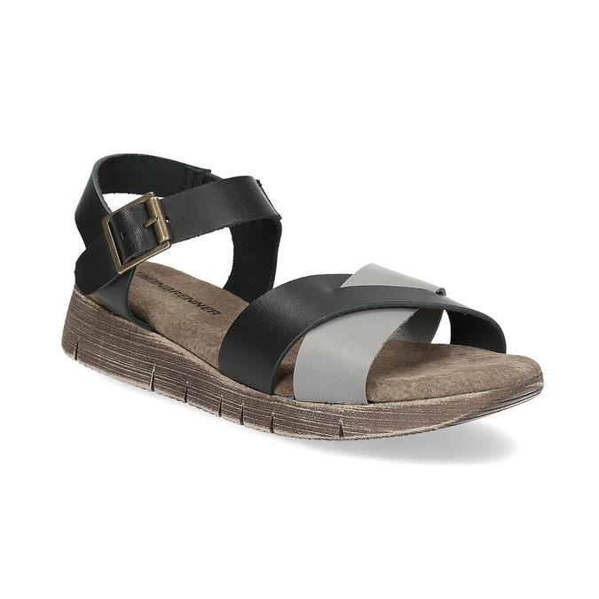 Šedo-černé kožené dámské sandály weinbrenner, černá, 566-6641 - 13