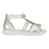 Stříbrné dívčí sandály s kytičkami mini-b, stříbrná, 261-1614 - 19