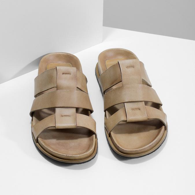 Světle hnědé pánské kožené nazouváky bata, hnědá, 866-3639 - 16