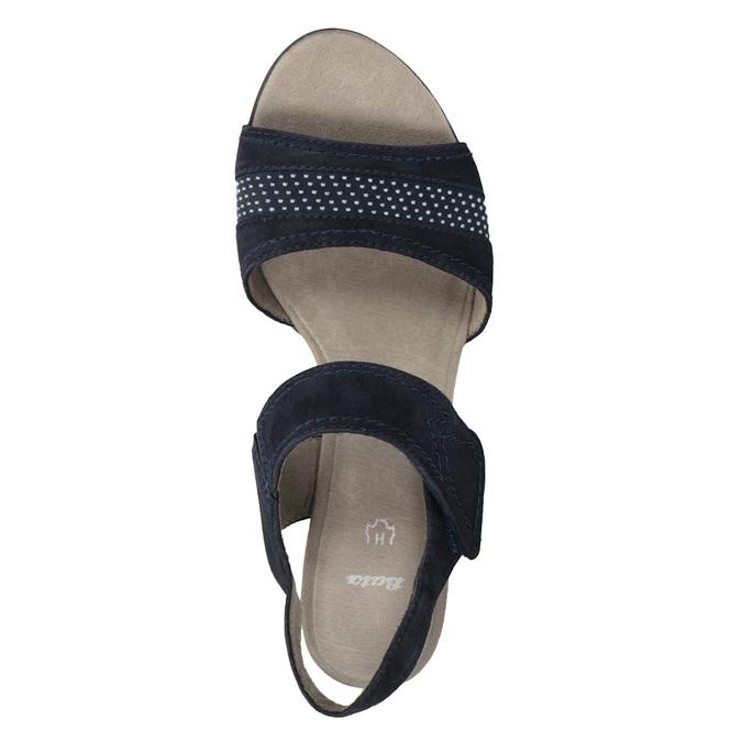 Modré kožené sandály šíře H bata, modrá, 666-9616 - 15