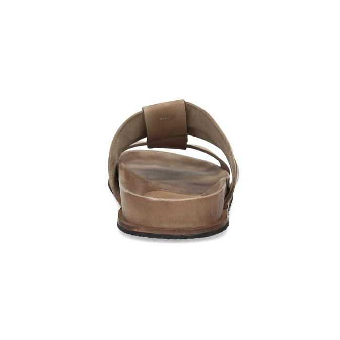 Světle hnědé pánské kožené nazouváky bata, hnědá, 866-3639 - 15