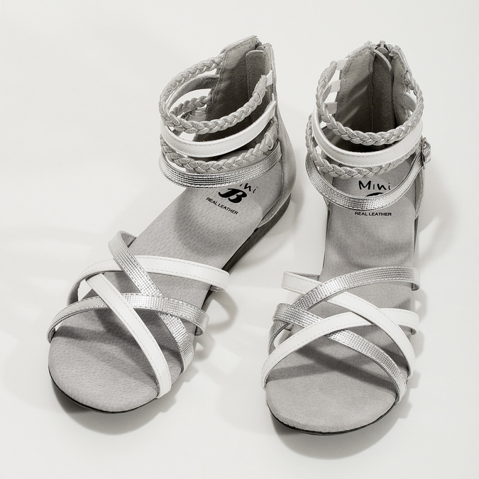 Bílo-stříbrné dívčí sandály mini-b, stříbrná, 361-1605 - 16