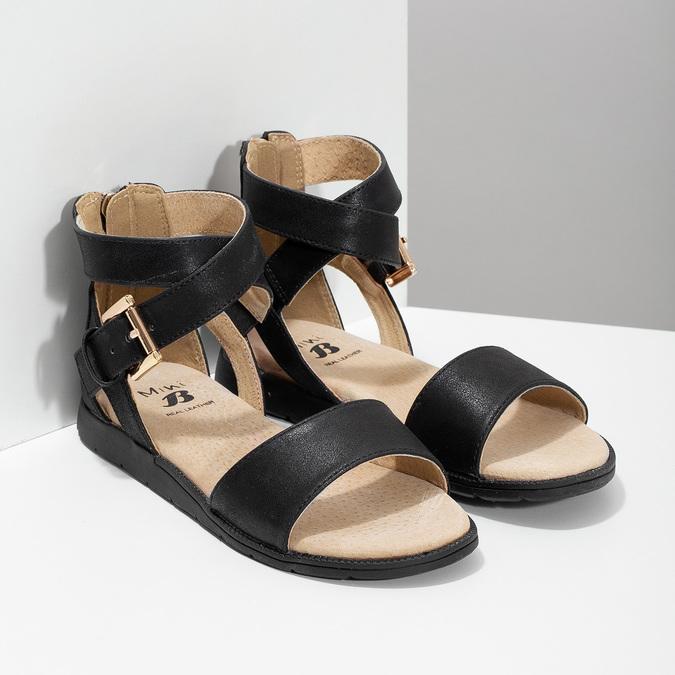 Černé dívčí sandály se zlatou sponou mini-b, černá, 361-6606 - 26