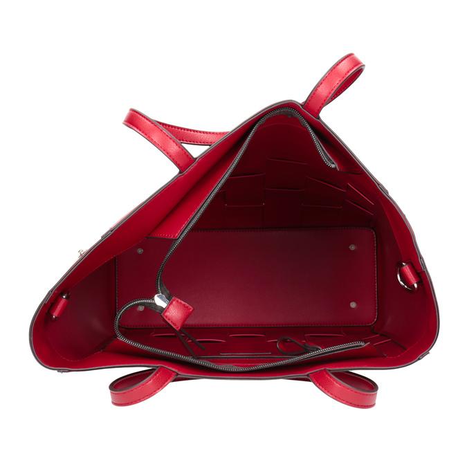 Prostorná červená kabelka s proplétáním bata, červená, 961-5236 - 15