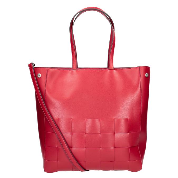 Prostorná červená kabelka s proplétáním bata, červená, 961-5236 - 16
