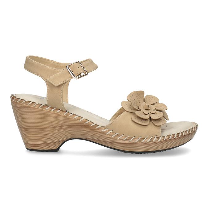 Béžové sandály s květinkou comfit, béžová, 661-8613 - 19