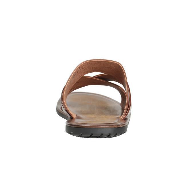 Pánské hnědé kožené nazouváky s křížením bata, hnědá, 866-3603 - 15