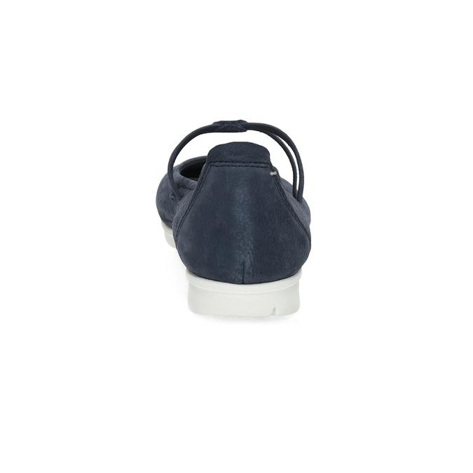 Dámské kožené baleríny s perforací bata, modrá, 526-9662 - 15