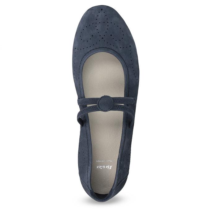 Dámské kožené baleríny s perforací bata, modrá, 526-9662 - 17