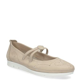 Kožené baleríny na výrazné podešvi bata, béžová, 526-8662 - 13