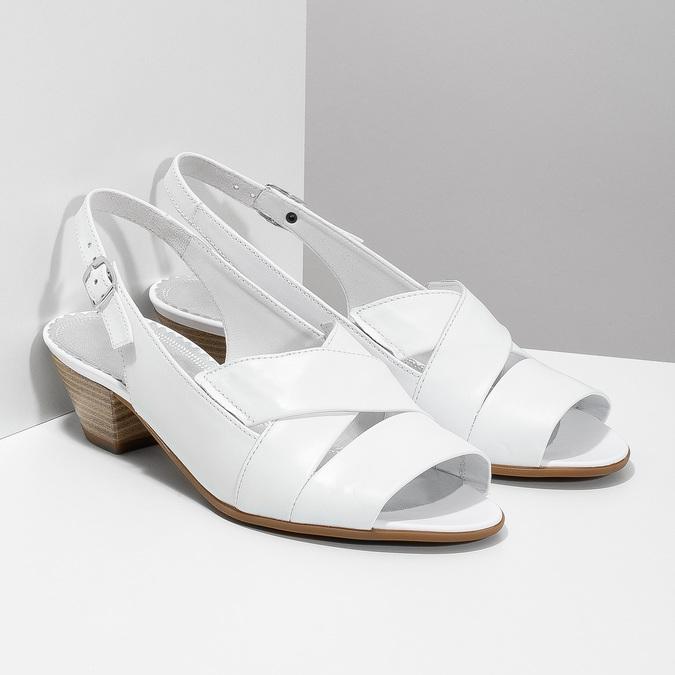 Bílé kožené sandály na stabilním podpatku šíře H gabor, bílá, 666-1351 - 26