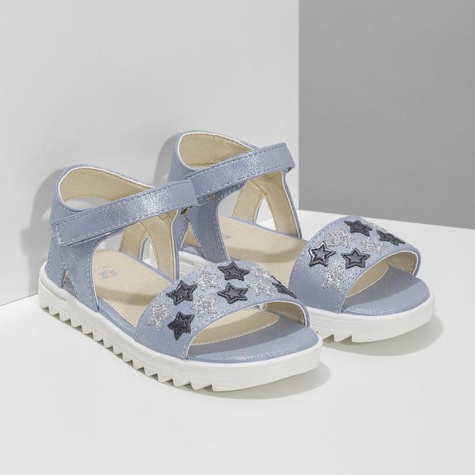 Dívčí sandály s hvězdičkami mini-b, modrá, 261-9211 - 26