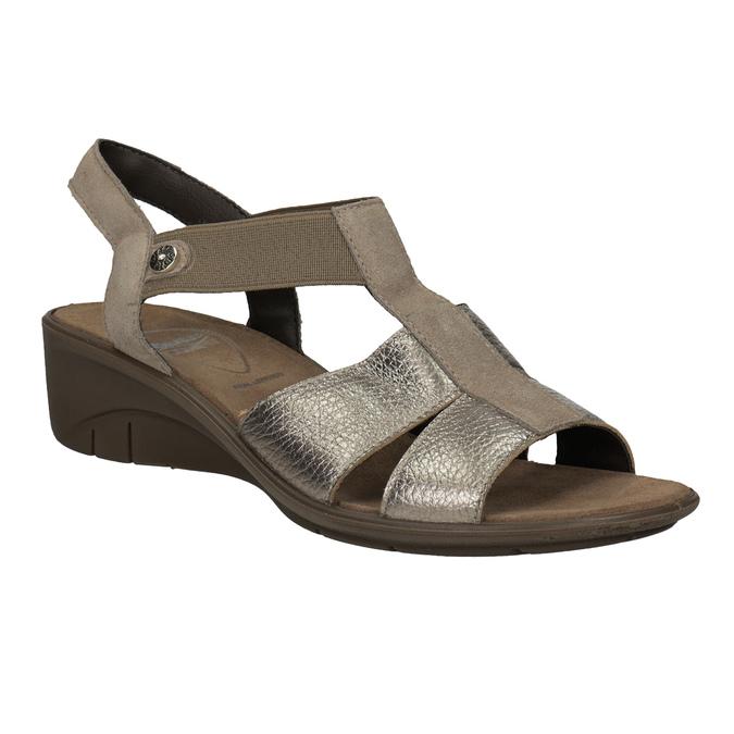 Kožené sandály na klínovém podpatku comfit, bronzová, 666-8620 - 13