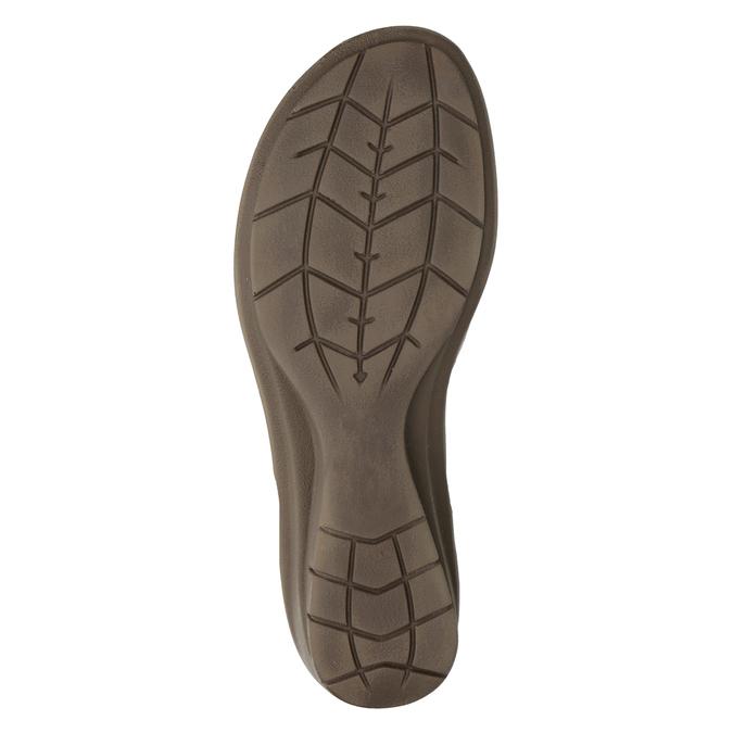 Kožené sandály na klínovém podpatku comfit, bronzová, 666-8620 - 19