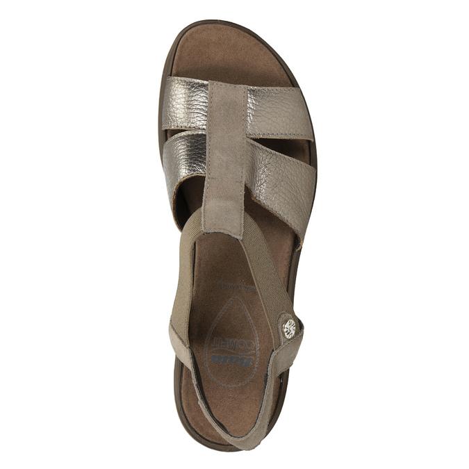Kožené sandály na klínovém podpatku comfit, bronzová, 666-8620 - 17