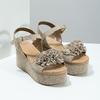 Kožené dámské sandály na flatformě bata, béžová, 763-3601 - 26