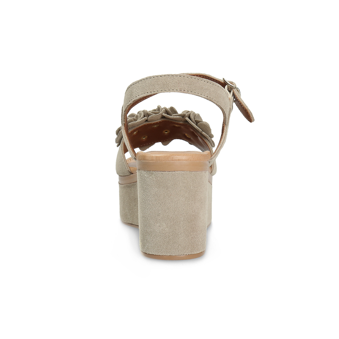 Kožené dámské sandály na flatformě bata, béžová, 763-3601 - 15