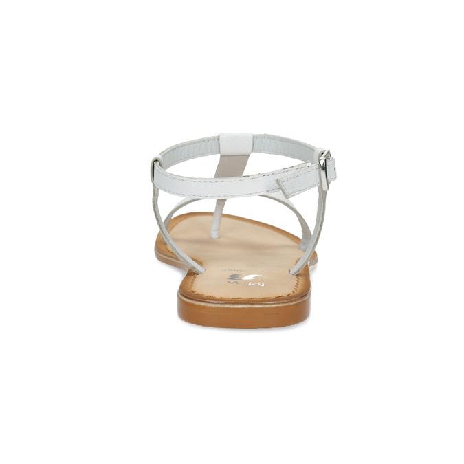 Kožené dívčí sandálky s kamínky mini-b, bílá, 364-1126 - 15