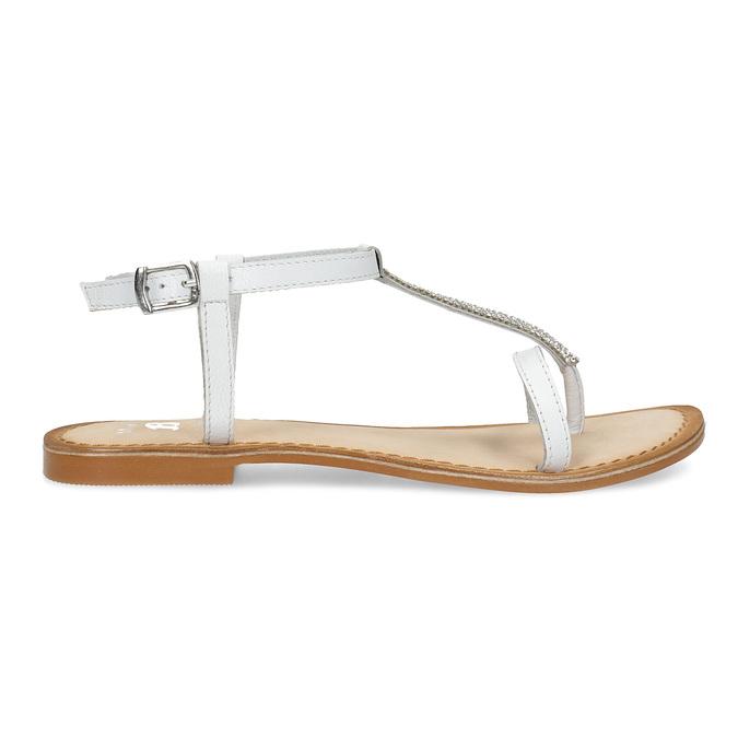 Kožené dívčí sandálky s kamínky mini-b, bílá, 364-1126 - 19