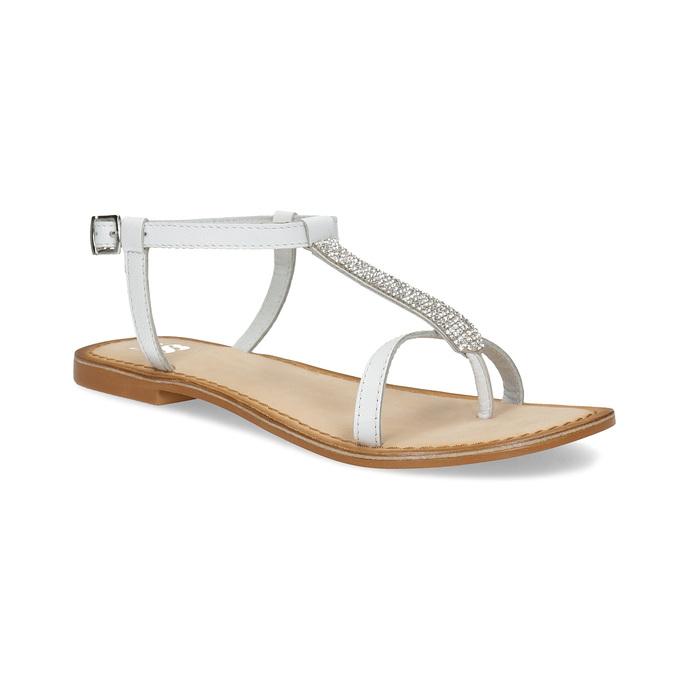 Kožené dívčí sandálky s kamínky mini-b, bílá, 364-1126 - 13