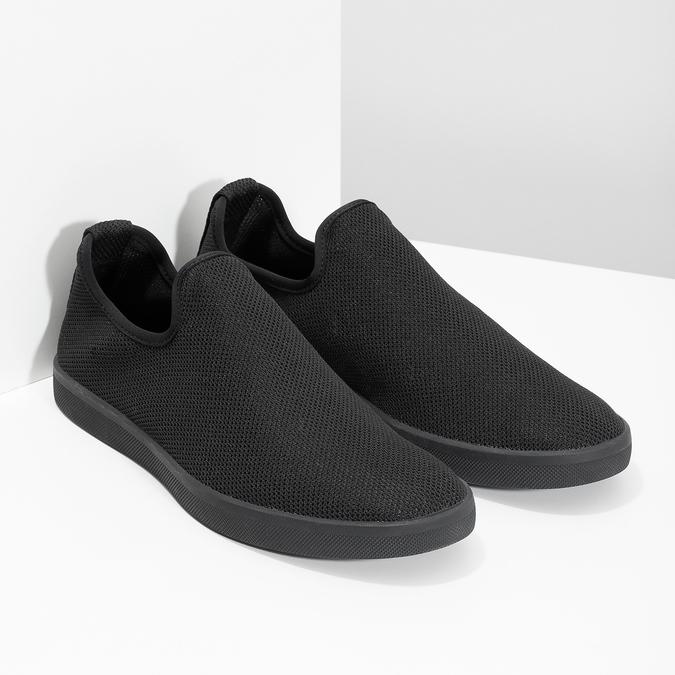 Pánské textilní Slip-on boty bata-red-label, černá, 839-6601 - 26