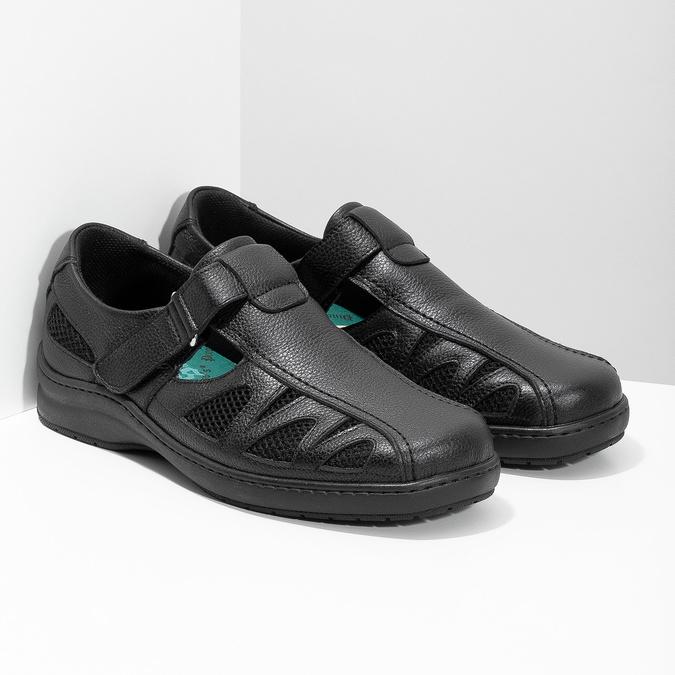 Pánské kožené sandály v elegantním designu pinosos, černá, 864-6625 - 26