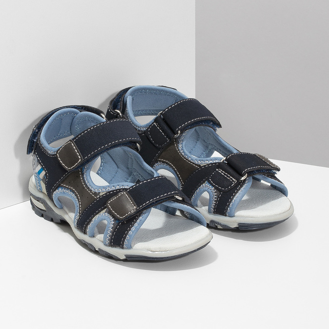 Chlapecké sandály na suchý zip modré mini-b, modrá, 261-9608 - 26