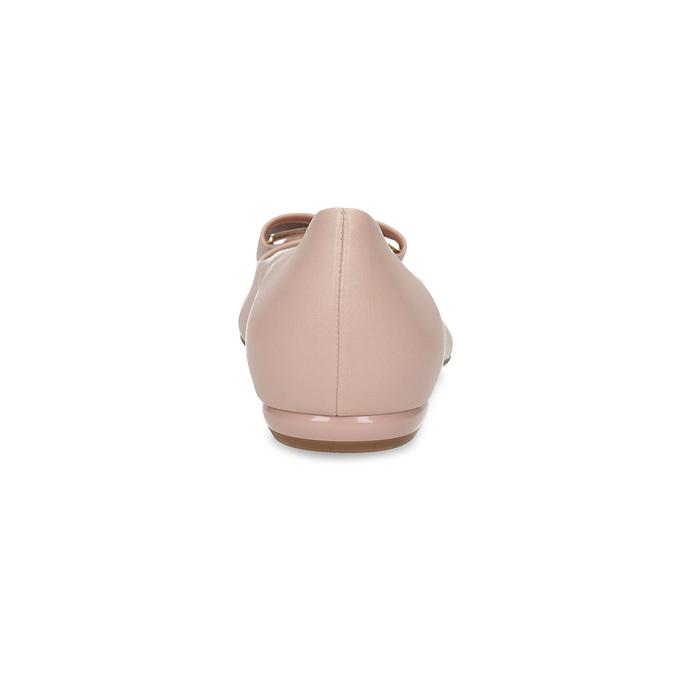 Kožené baleríny s výraznou mašlí hogl, růžová, 526-5051 - 15