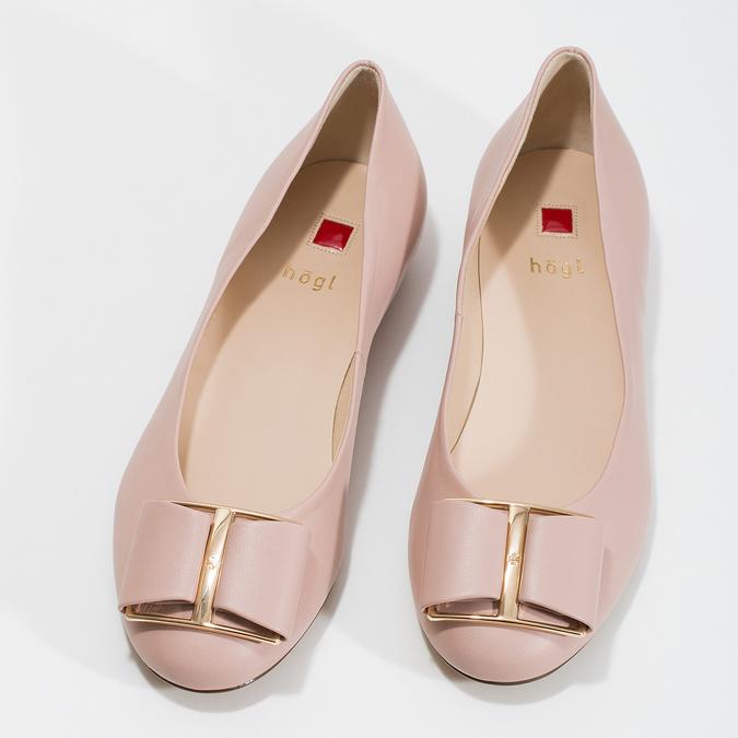 Kožené baleríny s výraznou mašlí hogl, růžová, 526-5051 - 16