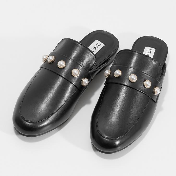 Kožené mokasíny s volnou patou a perličkami steve-madden, černá, 514-6072 - 16