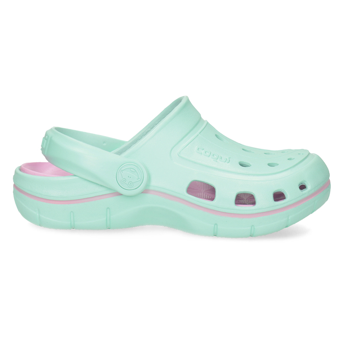 Dětské tyrkysové sandály Clogs coqui, tyrkysová, 372-7657 - 19