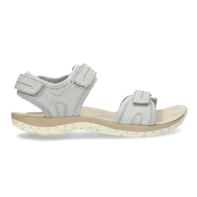 Kožené dámské sandály na suchý zip weinbrenner, šedá, 566-2608 - 19