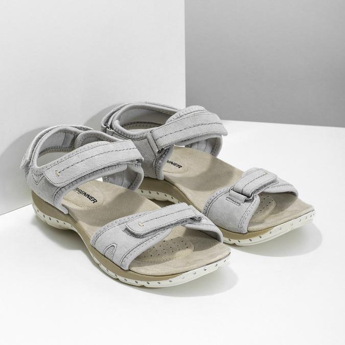 Kožené dámské sandály na suchý zip weinbrenner, šedá, 566-2608 - 26