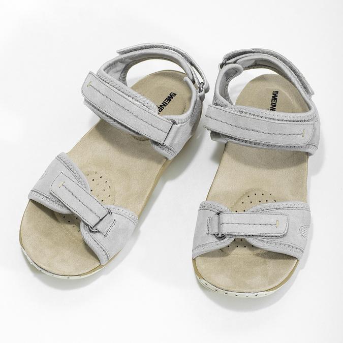 Kožené dámské sandály na suchý zip weinbrenner, šedá, 566-2608 - 16
