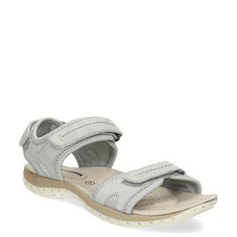Kožené dámské sandály na suchý zip weinbrenner, šedá, 566-2608 - 13