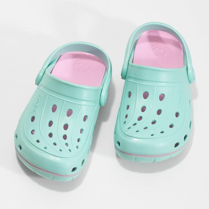 Dětské tyrkysové sandály Clogs coqui, tyrkysová, 372-7657 - 16