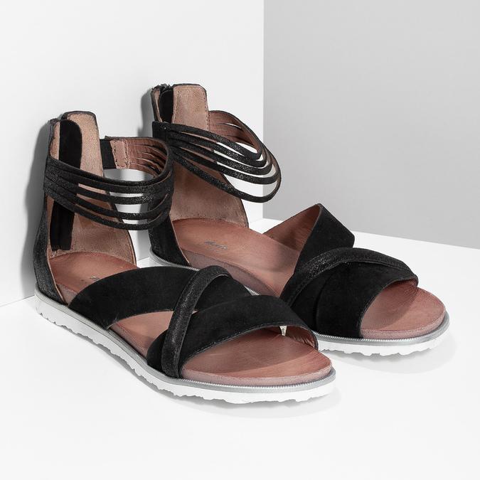 Kožené sandály s pásky kolem kotníku bata, černá, 566-6646 - 26