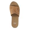 Kožené korkové nazouváky na klínku bata, hnědá, 766-3615 - 17