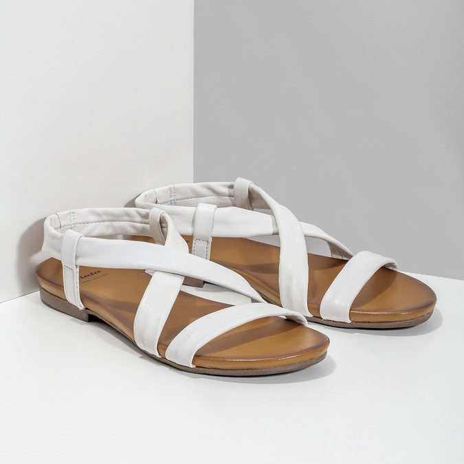 Bílé kožené sandály dámské bata, bílá, 566-1635 - 26