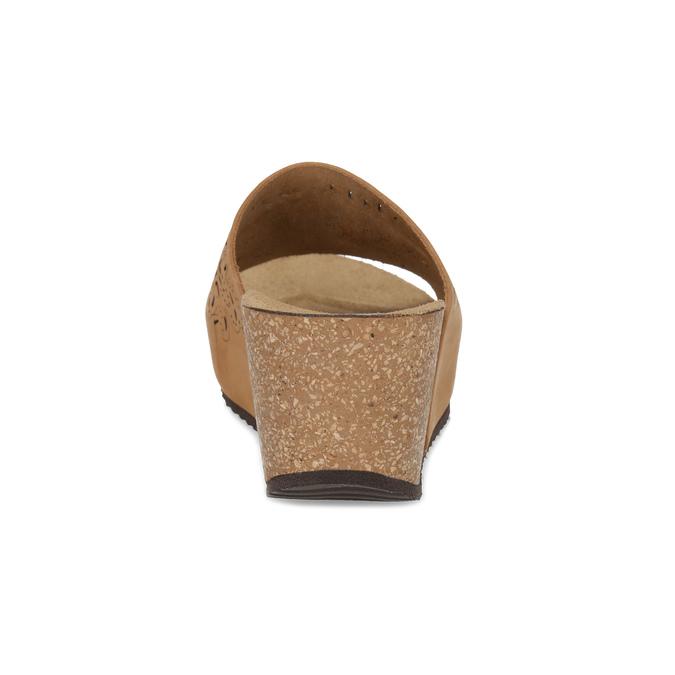 Kožené korkové nazouváky na klínku bata, hnědá, 766-3615 - 15