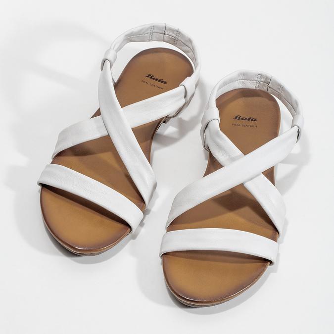 Bílé kožené sandály dámské bata, bílá, 566-1635 - 16
