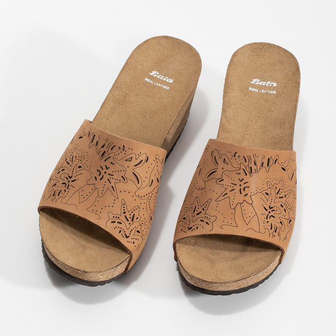 Kožené korkové nazouváky na klínku bata, hnědá, 766-3615 - 16